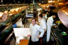 Late Chef Charlie Trotter in his spotless kitchen
