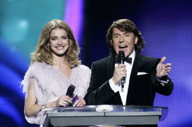 Andrey Malakhov, host of Pust Govoryat show, and Natalia Vodianova