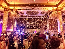 Golden confetti rained down on guests in the Gold Coast Room