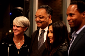 Reverend Jesse Jackson (2nd from L) with Josephine Lee (CCC founder, 2nd from R) and friends