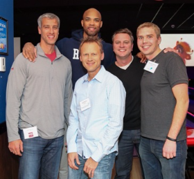 Taj Gibson and Bowling Party guests (Photo by Grace Wiley)