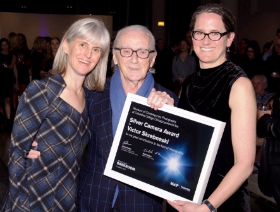 Associate director Karen Irvine, honoree Victor Skrebneski and executive dir. Natasha Egan.