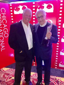 Chuck Jordan and honoree Joe Sedelmaier (holding his Silver Hugo)
