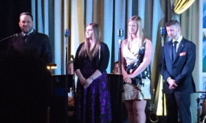Robert Monestero introduced scholarship recipients Leslie Burch, Kenzie Mocogni and Erik Friend