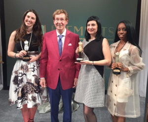 Carrie McMahon (2nd place winner), host Richard Driehaus, Anna Loosli (winning designer) and Verneccia Etienne (3rd place winner)