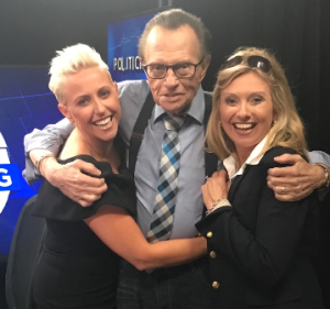 Laura Schwartz (L) and sister Andrea Schwartz Stryker with Larry King at his 60th anniversary celebration