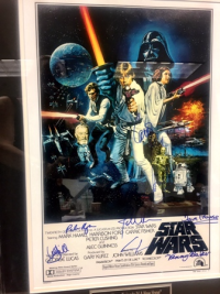 Another silent auction item--Star Wars poster signed by original cast members AND George Lucas!