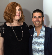 Academy Award-winning filmmaker, Lilly Wachowski (L) and Howard Brown Health President and CEO David Ernesto Munar