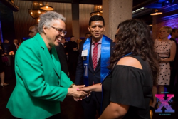 Cook County Board President Toni Preckwinkle greets OMD Scholars.