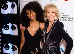 Teen filmmaker Kayla Sullers and honoree Jane Fonda