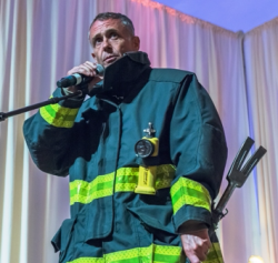 Actor David Eigenberg (Chicago Fire and Sex in the City) addresses the crowd