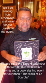 Author/restaurateur Armando Vasquez with a copy of the book!