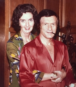 Hef's best friend and right hand woman, the late Mary O'Connor, with Hef at Christmas 1977