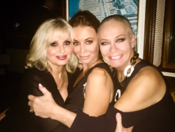 With fellow Playmates Cathy St. George (L) and Ava Fabian (R) at Madeo's