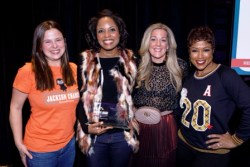 Sara Licht, Owl Give winner Tiffany McCallum, JCF founder Carrie Meghie, emcee Val Warner