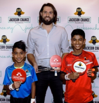 Table tennis star Nanden Naresh, tourney winner Jason Hammel and table tennis star Sid Naresh