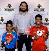 Table tennis star Nanden Naresh, tourney winner Jason Hammel and table tennis star Sid Naresh