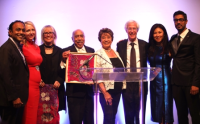 Co-chairs Sundeep Mullangi, Trissa Babrowski, honorees Anne Wilson, Walter and Shirley Massey, co-chairs Bill Hughson, Monica Hughson, Deputy Director Hillesh Patel