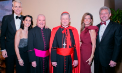 Chairs Michael and Claire O'Grady, Monsignor Michael Boland, Cardinal Cupich, Rhonda and Scott Swanson