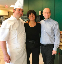 Maria Pappas with Chef Jacquy Pfeiffer (R) and French Pastry School chef
