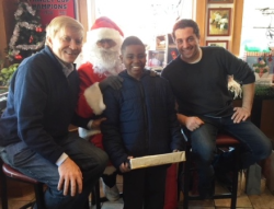 Bob Fioretti, Santa and friends at his annual Christmas lunch/toy giveaway at Billy Goat Tavern.