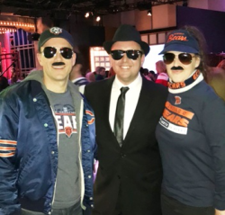 Brett Mularski, Justin Kulovsek, Elena Mularski - Da Bears Super Fans and SNL Project lead and Blues Brother