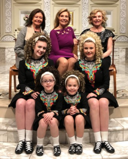 Shelley Farley (center top), Lynn Kiley (L top), Virginia Bobins (R, top) with the adorable Trinity Irish Dancers