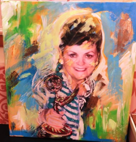 Marlaine's surprise portrait by artist Elliott From.
