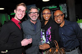 Designer Frederic Beausoleil (2nd from L) with fans
