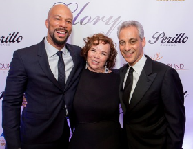Common and the Mayor with Dr. Mahalia Hines (pres. Common Ground Fdtn. and Common's mom)