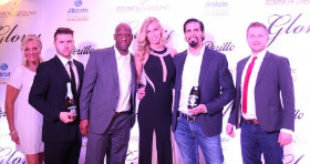 Le Medaillon Champagne's Laurie Dimakos (left), Jay Dhillon (2nd from R), Mike Olsen (R) and friends.