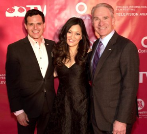 Co-emcees Dan Ponce and Ji Suk Yi with Jay Levine, Excellence in Investigative Journalism honoree.