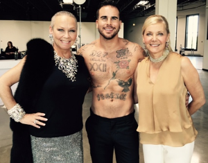 With Paula Fasseas and hunky model (lawyer) at the shoot