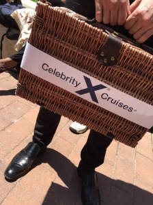 Goody laden Celebrity Cruises picnic basket for Grass Is Greener campaign
