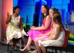 Dr. Amelia Case and her daughters appearing on Fox 32 news.
