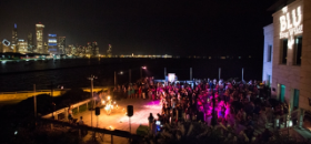 Pyrotechniq performs on Shedd's Sick Family Lakefront Terrace