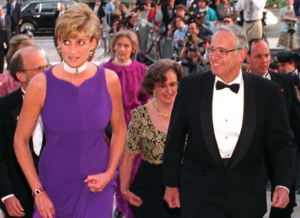 Princess Diana escorted by Northwestern University president Henry Bienen to Field Museum Gala.