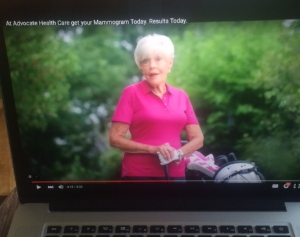 Dorothy Whealan in commercial for Advocate Health Care