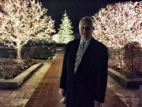Chuck amid the Chicago Botanic's illuminated landscape