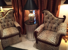 Fabulous vintage leopard chairs on Antiques Row-West Palm Beach