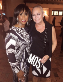 With glam BD girl Gwendolyn Butler who requested guests wear black or white for her 60th.