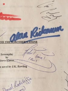 Cast-signed Sorcerer's Stone script with Rickman's signature