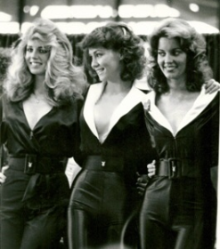 Working a Playboy promo with Sandy Cagle (Miss Feb. 1980) and Lisa Welch (Miss Sept. 1980)