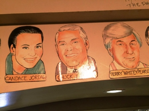 "Our caricatures on the wall at the Palm next to Terry ""Whitey"" Pearson's"