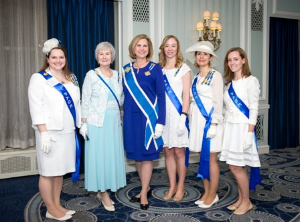 Chicago Chapter treasurer Julia Riley Davila, Illinois State Regent Sharon Crumbaker Frizzell and President General Lynn Forney Young, Libby Hurdelbrink, Jacqueline Villa, Alexandra Fontaine