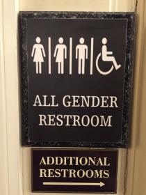 Restroom sign at Hilton Chicago