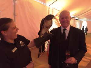 Chuck with his new friend Dakota, a red-tailed hawk