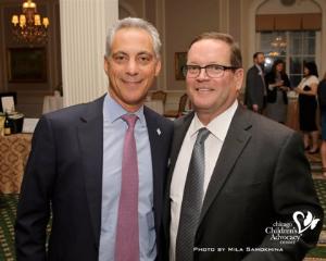 Mayor Emanuel and board chair Tom Sampson