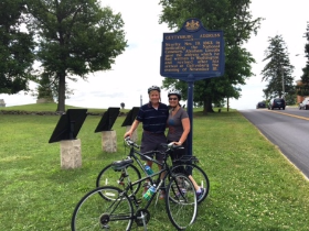 Newlyweds Nicki and Bob Fioretti pedaled through Gettysburg