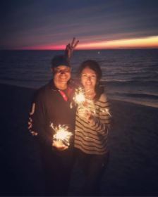 """Debi Lilly and hubby Mike Springer """"sparkle"""" on the beach in Nantucket"""